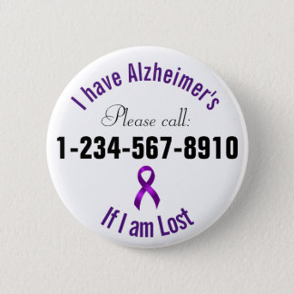 Alzheimers Emergency Contact 2 Inch Round Button