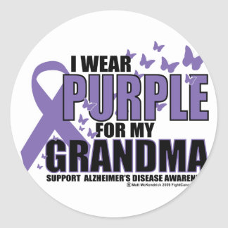 Alzheimers Purple For GRANDMA Classic Round Sticker