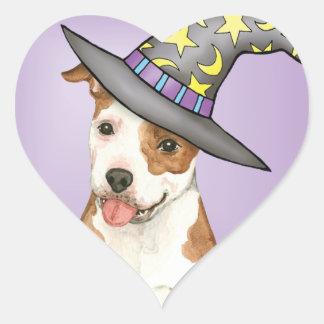 Am Staff Witch Heart Sticker
