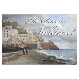 Amalfi Coast Italy Boats Ocean Welcome Doormat