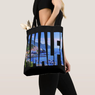Amalfi Coast Typography Modern Photo Watercolor Tote Bag