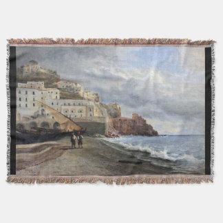 Amalfi Italy Beach Fishing Boats Sea Throw Blanket