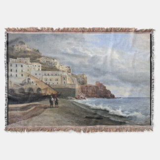 Amalfi Italy Coast Fishing Boats Sea Throw Blanket
