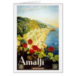 """Amalfi"" Vintage Travel Poster Greeting Card"