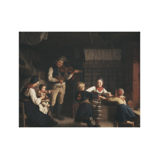 Amalia Lindegren - Sunday Evening in a Farmhouse i Canvas Print
