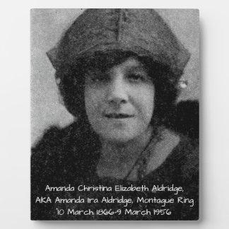 Amanda Christina Elizabeth Aldridge Plaque