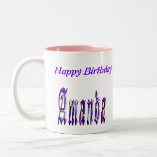 Amanda, Happy Birthday Logo, Coffee Mug