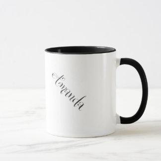 Amanda mug in black and white