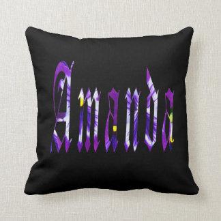 Amanda, Name, Logo, Black Throw Cushion. Throw Pillow