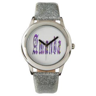 Amanda, Name, Logo, Girls Silver Glitter Watch