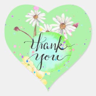 Amanda's Flower Splatter Thank You Heart Sticker