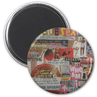 Amanda's magazine and cardboard picture collage #7 2 inch round magnet