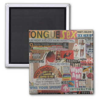 Amanda's magazine and cardboard picture collage #7 square magnet