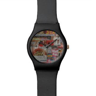 Amanda's magazine and cardboard picture collage #7 wrist watch