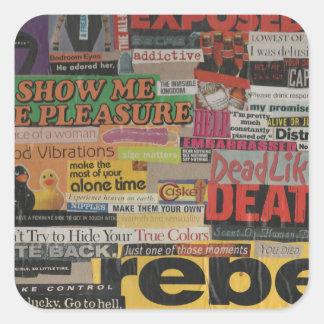 Amanda's magazine and cardboard picture collage #8 square sticker