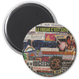 Amanda's magazine & cardboard picture collage #12 2 inch round magnet