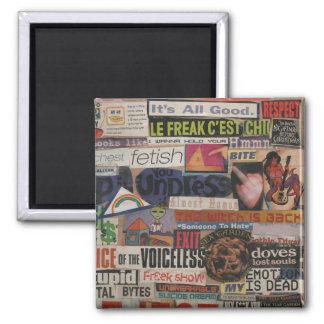 Amanda's magazine & cardboard picture collage #12 square magnet