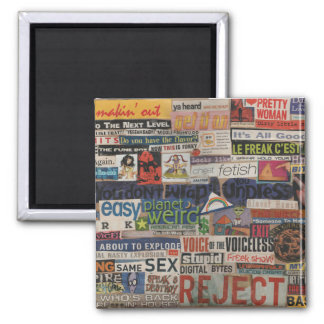 Amanda's magazine & cardboard picture collage #14 square magnet