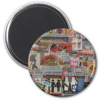 Amanda's magazine & cardboard picture collage #17 2 inch round magnet