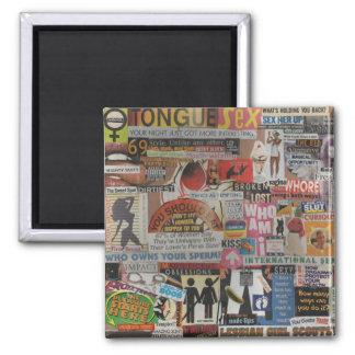 Amanda's magazine & cardboard picture collage #17 square magnet
