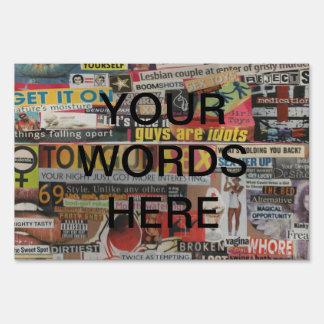 Amanda's magazine & cardboard picture collage #19 sign