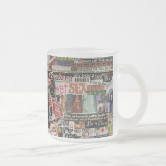 Amanda's magazine & cardboard picture collage #22 frosted glass coffee mug