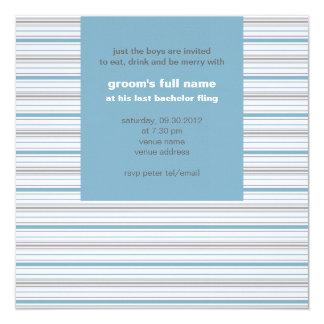 """Amara Stripe Cornflower Bachelor Party 5.25"""" Square Invitation Card"""