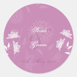 Amaranth Floral Wedding Sticker :: Pink