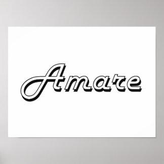 Amare Classic Retro Name Design Poster