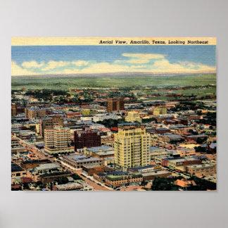 Amarillo, Texas, Aerial View, 1950 Vintage Poster
