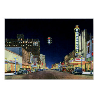 Amarillo Texas Polk Street Night View 1940 Poster