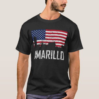 Amarillo Texas Skyline American Flag Distressed T-Shirt