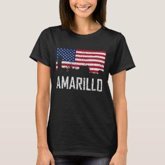 Amarillo Texas Skyline American Flag Distressed T-Shirt