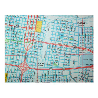 AMARILLO, TX Vintage Map Postcard