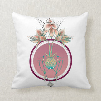 Amaryllis and jewels throw pillow