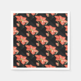 Amaryllis Hippeastrum Flowers Isolated On Black Disposable Napkin