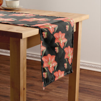 Amaryllis Hippeastrum Flowers Isolated On Black Short Table Runner