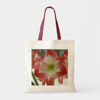 Amaryllis in Snow I Red Holiday Winter Floral Tote Bag