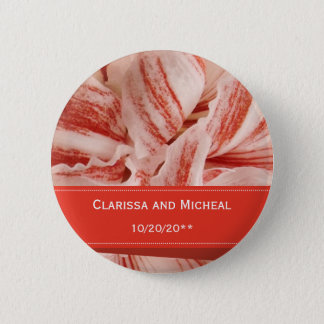 Amaryllis Petals Personalized Wedding Button