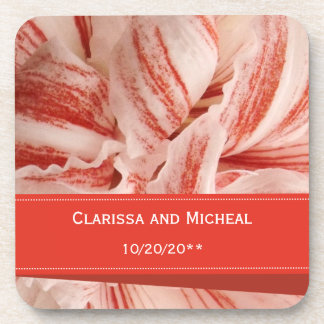 Amaryllis Petals Personalized Wedding Coaster