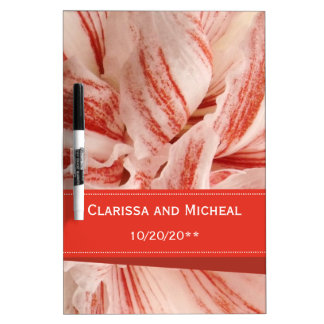Amaryllis Petals Personalized Wedding Dry Erase Board