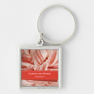Amaryllis Petals Personalized Wedding Keychain
