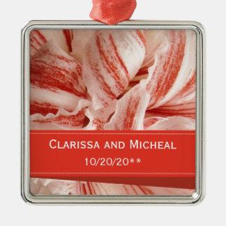 Amaryllis Petals Personalized Wedding Metal Ornament