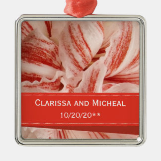 Amaryllis Petals Personalized Wedding Metal Ornament