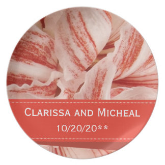 Amaryllis Petals Personalized Wedding Plate