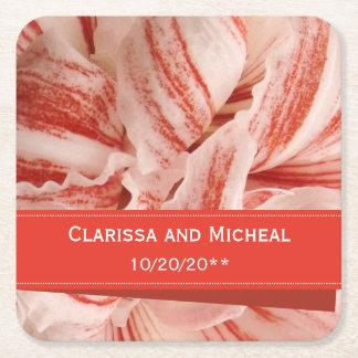 Amaryllis Petals Personalized Wedding Square Paper Coaster