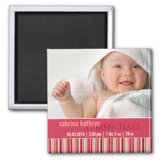 Amaryllis Stripes • Baby Announcement Magnets