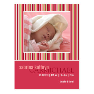 Amaryllis Stripes Pink • Baby Announcement Postcard