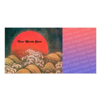 AMATERASU , SUN GODDESS ,red black brown Personalized Photo Card