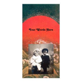 AMATERASU , SUN GODDESS ,red black brown Photo Card Template